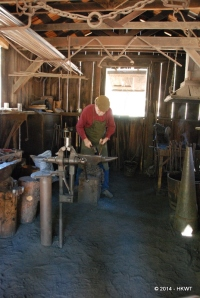 blacksmith hard at work in the pioneer village
