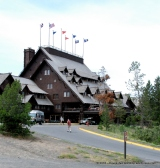 The gorgeous Old Faithful Lodge. I regret not going in now. Next trip!