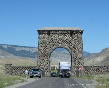 Mick got to pass through the Roosevelt Arch. I so wanted to see this, so I was happy to have the picture. Gorgeous.