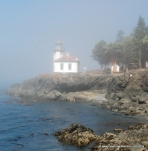 Lime Kiln Lighthouse on San Juan Island. It was a foggy day!