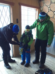 Getting ready for the lad's first zip-lining adventure!
